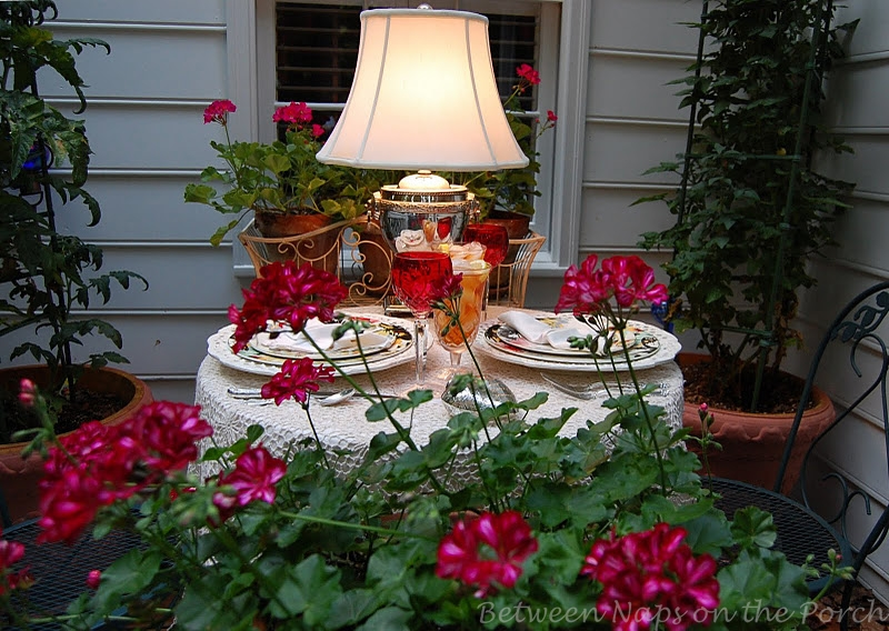 Summer table setting on the deck