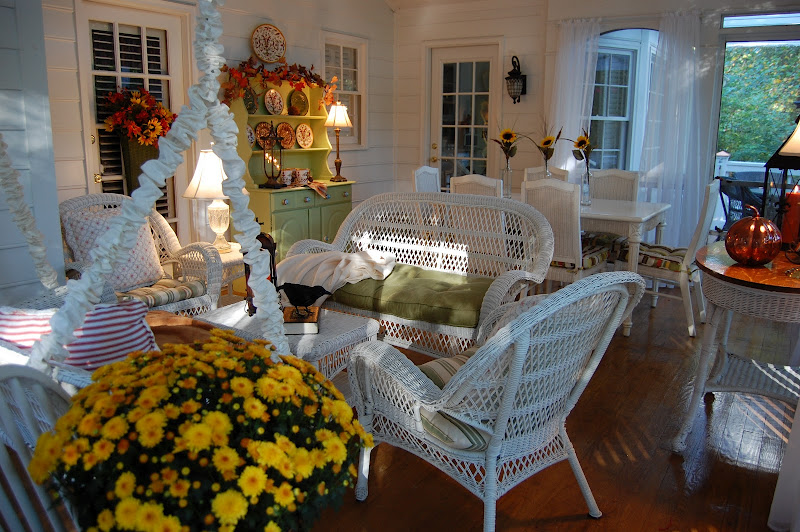 Screened-in Porch decorated for fall