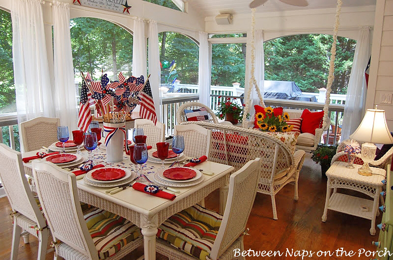 Screened-in Porch Decorated for the 4th of July