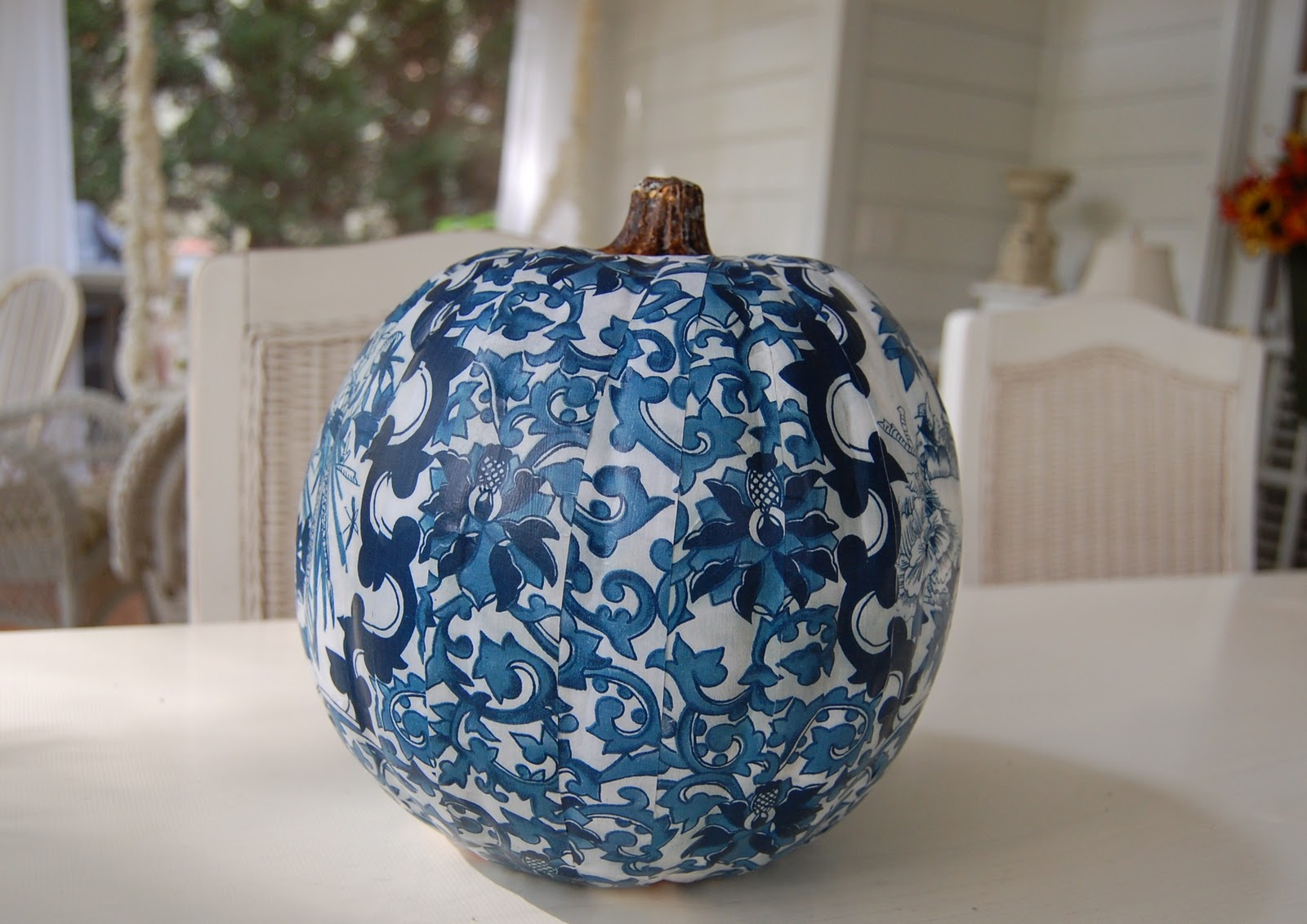Decoupage A Pumpkin To Coordinate With A Room S Design Or