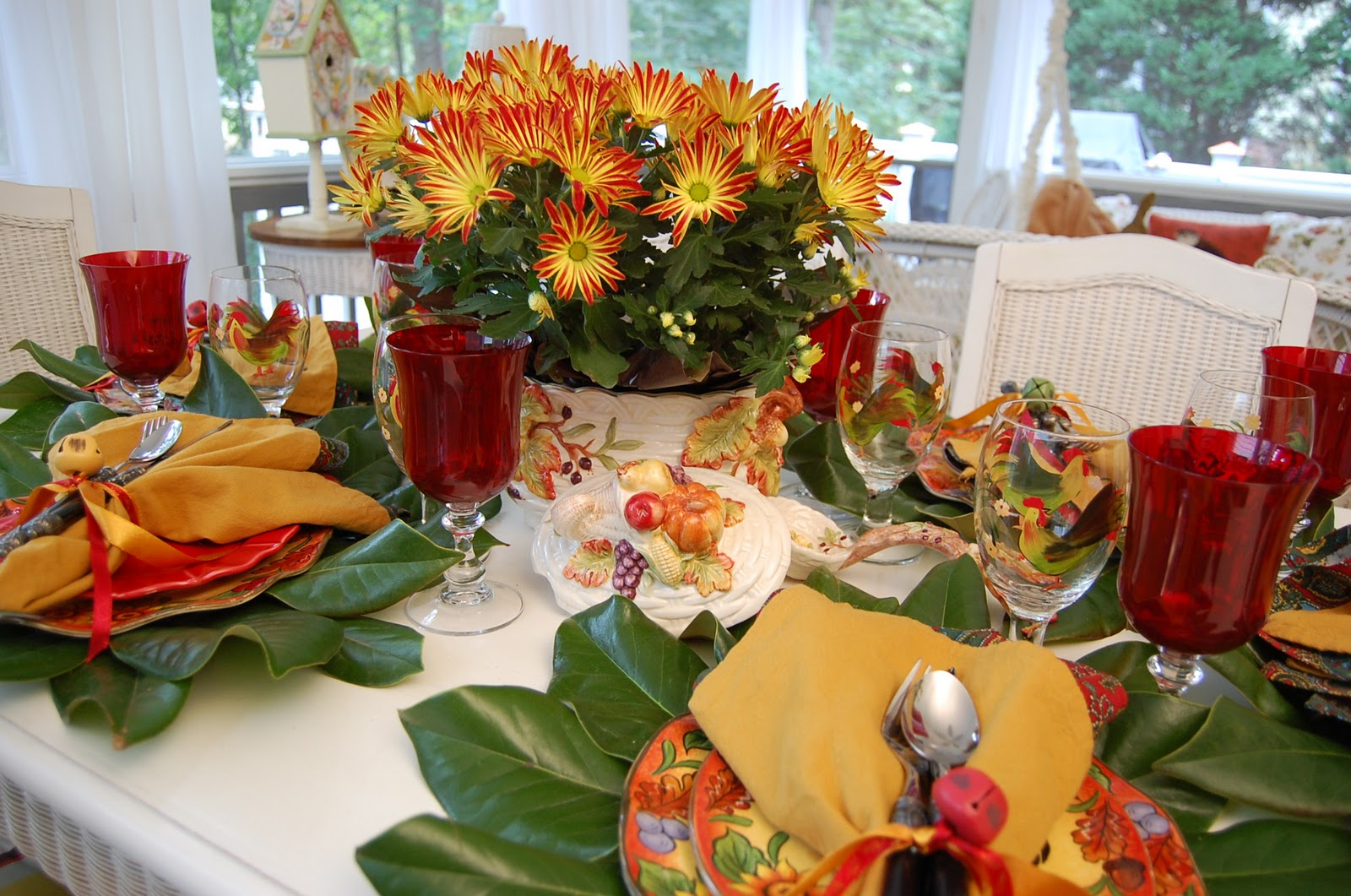 A colorful autumn table setting for Fall table