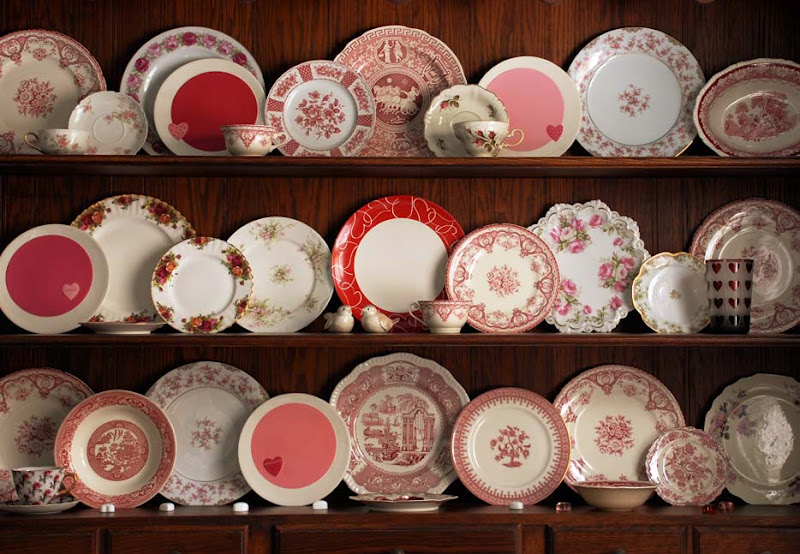 How to display and decorate with china or dishes for Valentine's Day