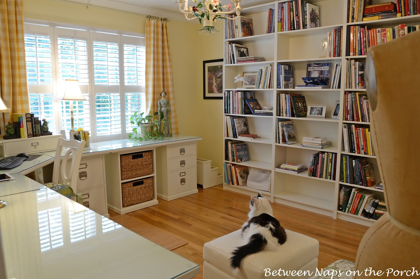 Pottery barn silk curtains - Pottery Barn Bedford Home Office With Ikea Billy Bookshelves