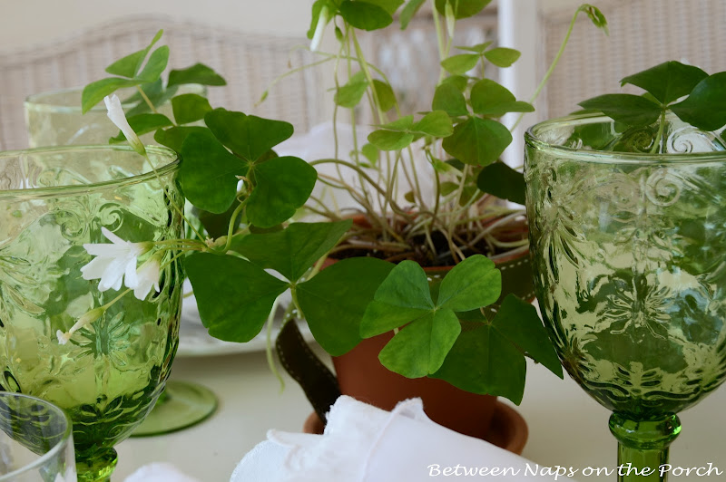 Shamrocks in a St. Patrick's Day Table Setting