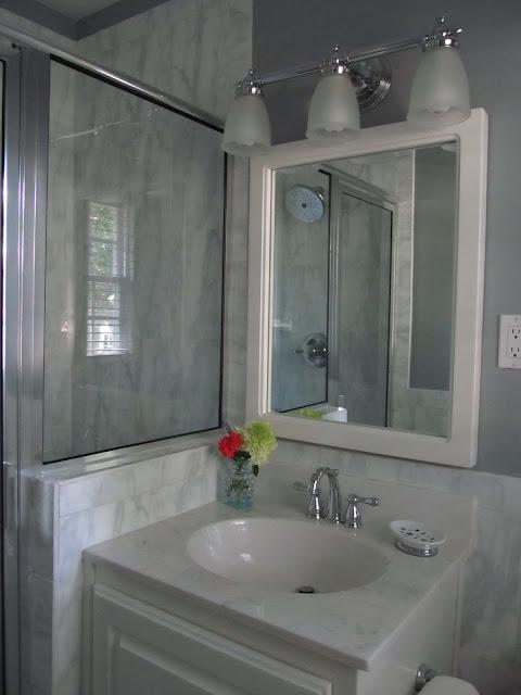 Updated Bath Renovation New Light Fixture