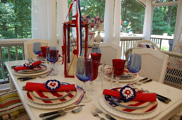 4th of July Table Setting Tablescape