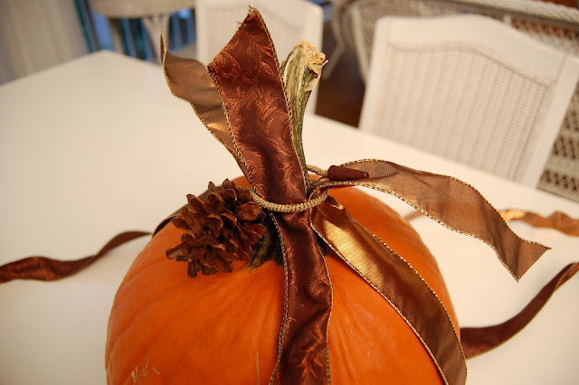 Decorate a Pumpkin with Ribbon for Halloween