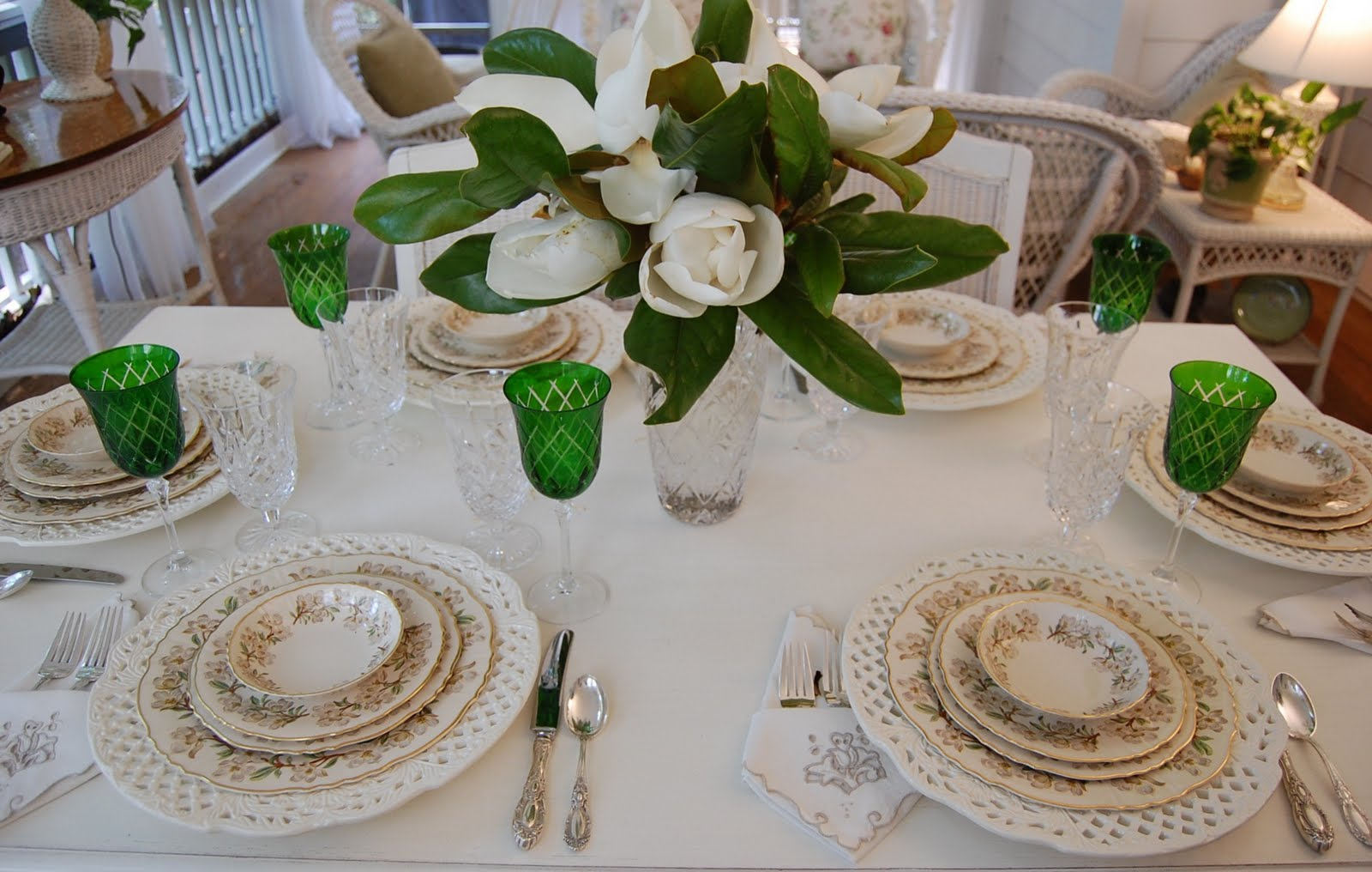 Summer tablescape with magnolia centerpiece