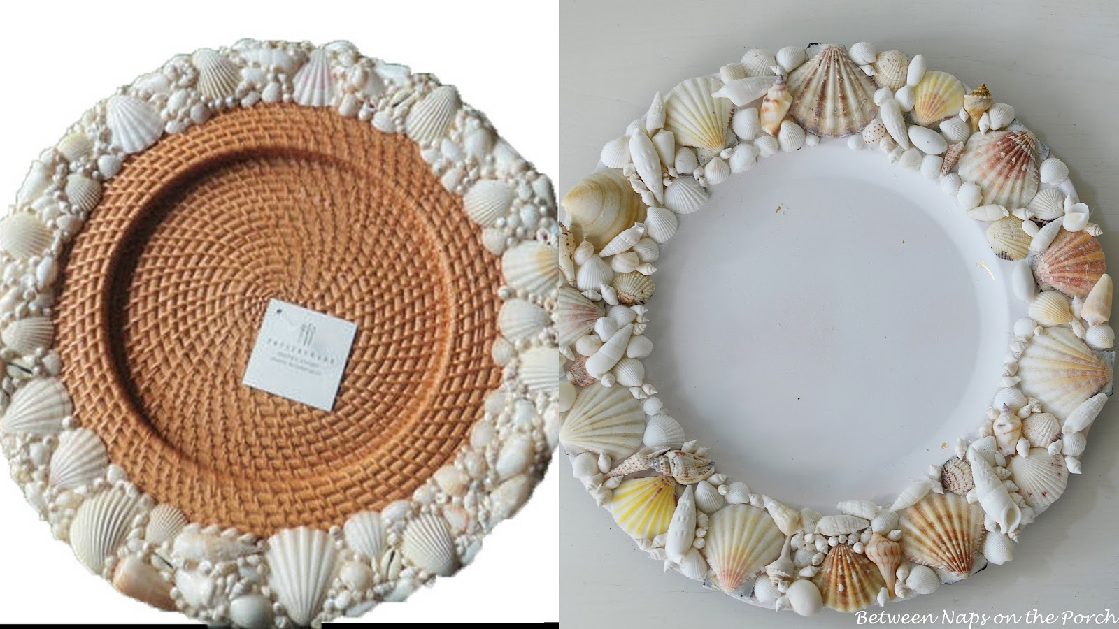 Pottery Barn Shell Chargers For A Beach Themed Tablescape
