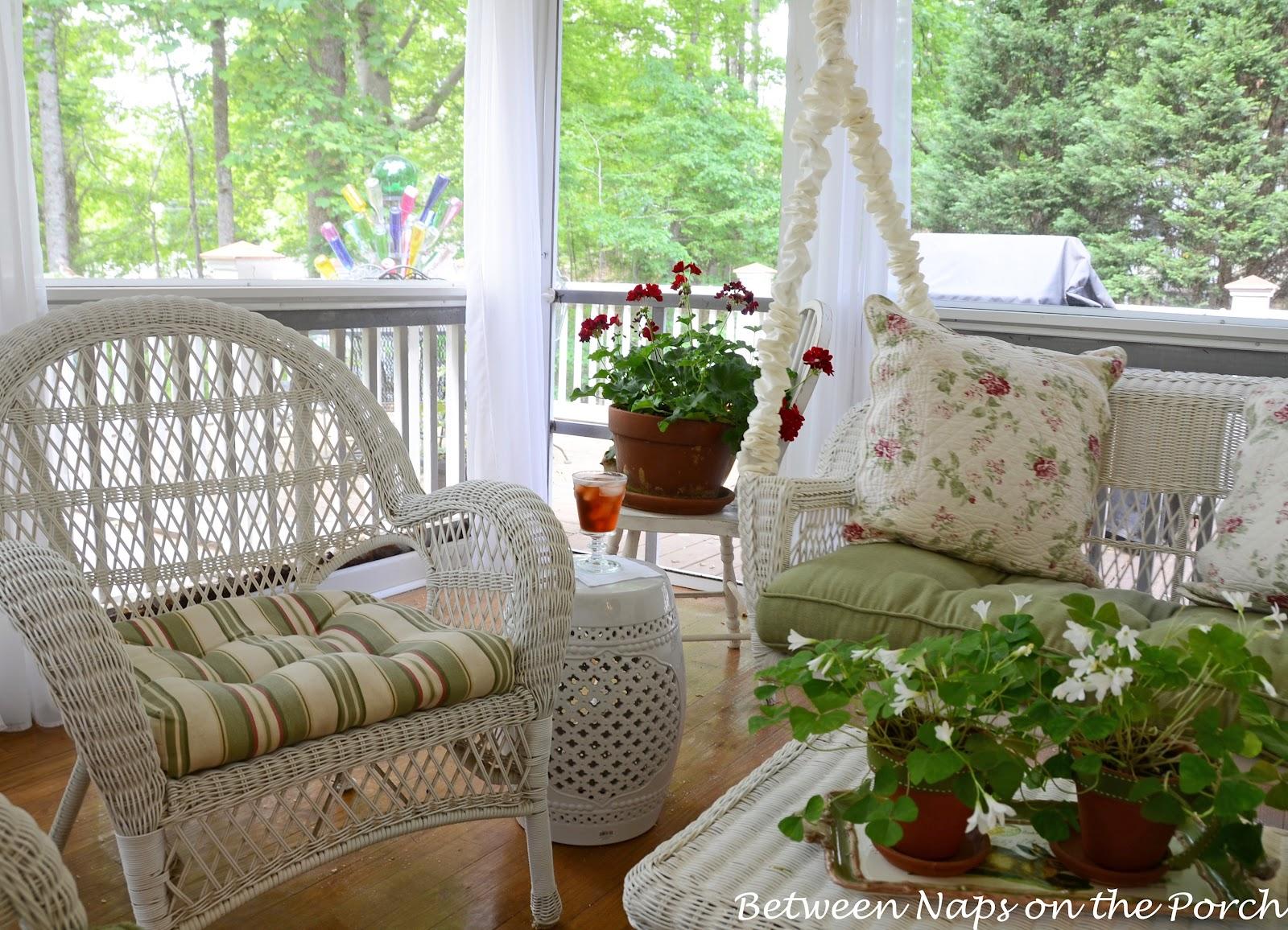 ceramic garden seat garden stool on the porch