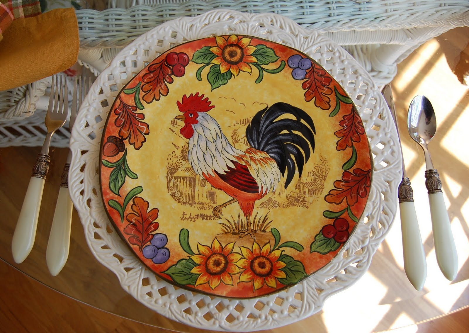 French Country Rooster Plate