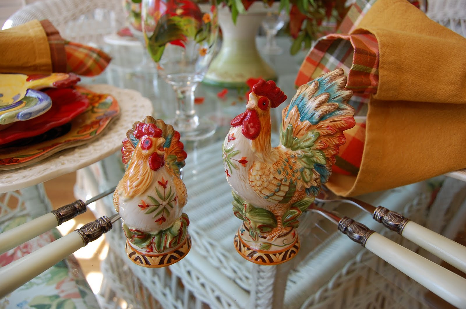 French Country Ceramic Rooster Figurines