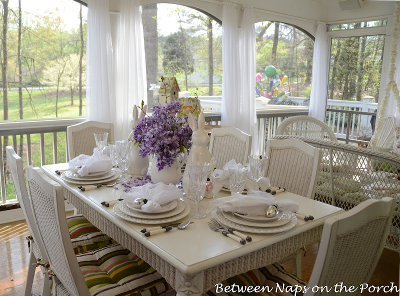 Spring Easter Table Setting, Pottery Barn Bunny Plates