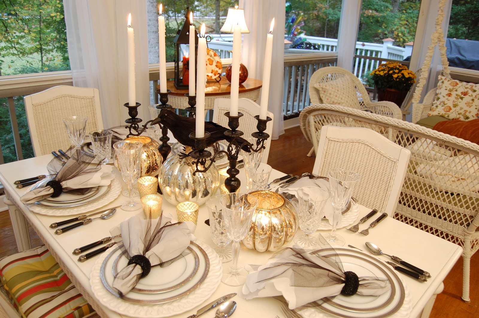 Halloween Tablescape With Mercury Glass Centerpiece Between Naps On The Porch
