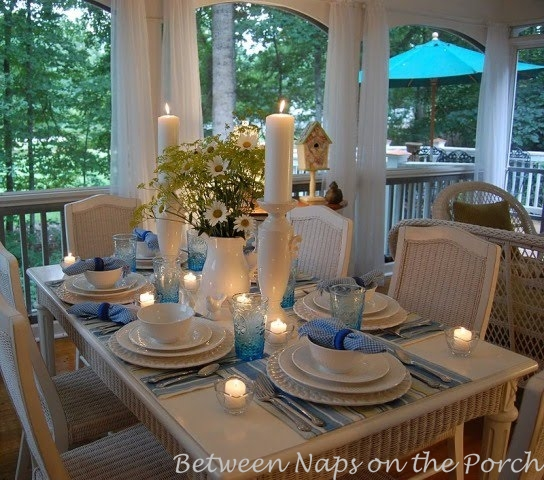 Spring Table Setting, Tablescape on the Porch