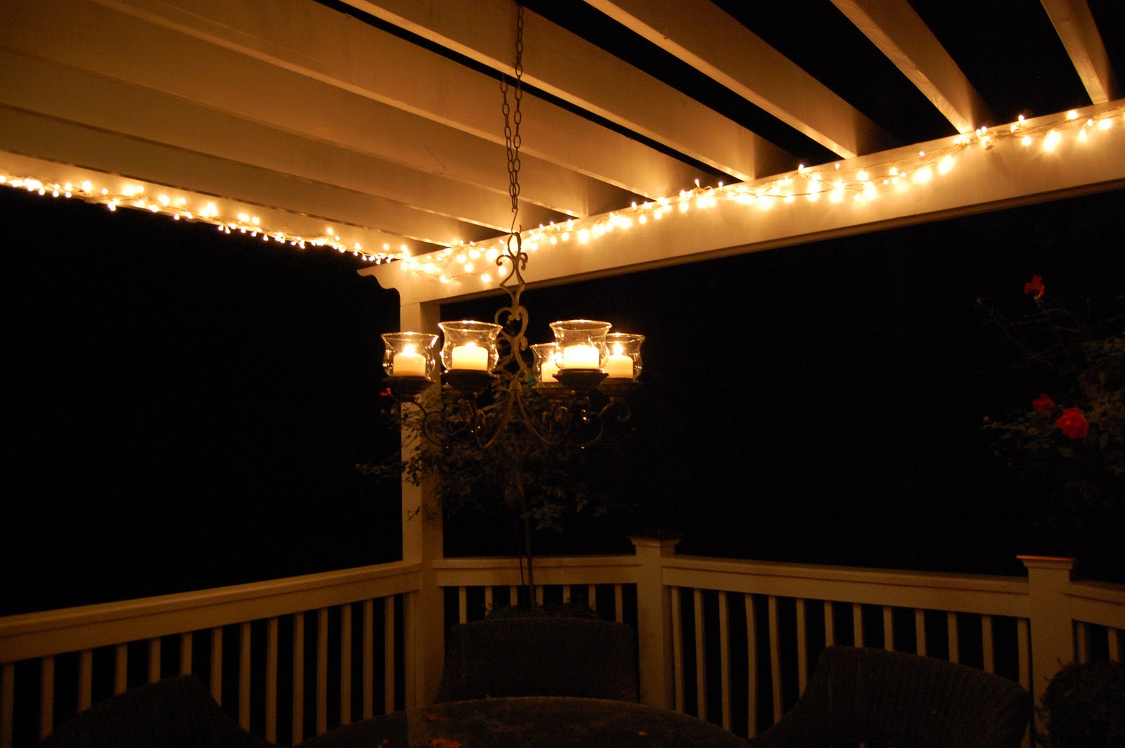 String Lights On A Porch : Repairing String Lights on the Pergola