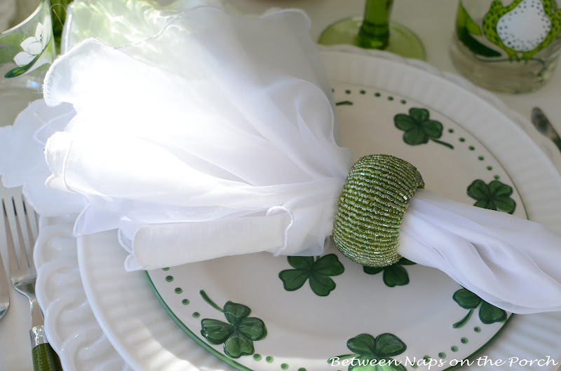 St. Patrick's Day Table Setting with shamrock centerpiece