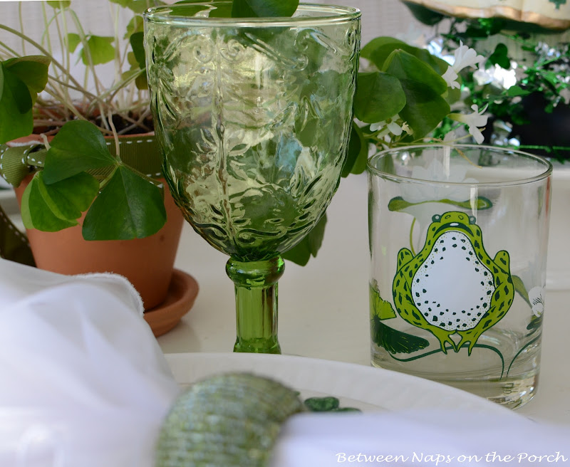 St. Patrick's Day Table Setting with froggy glasses