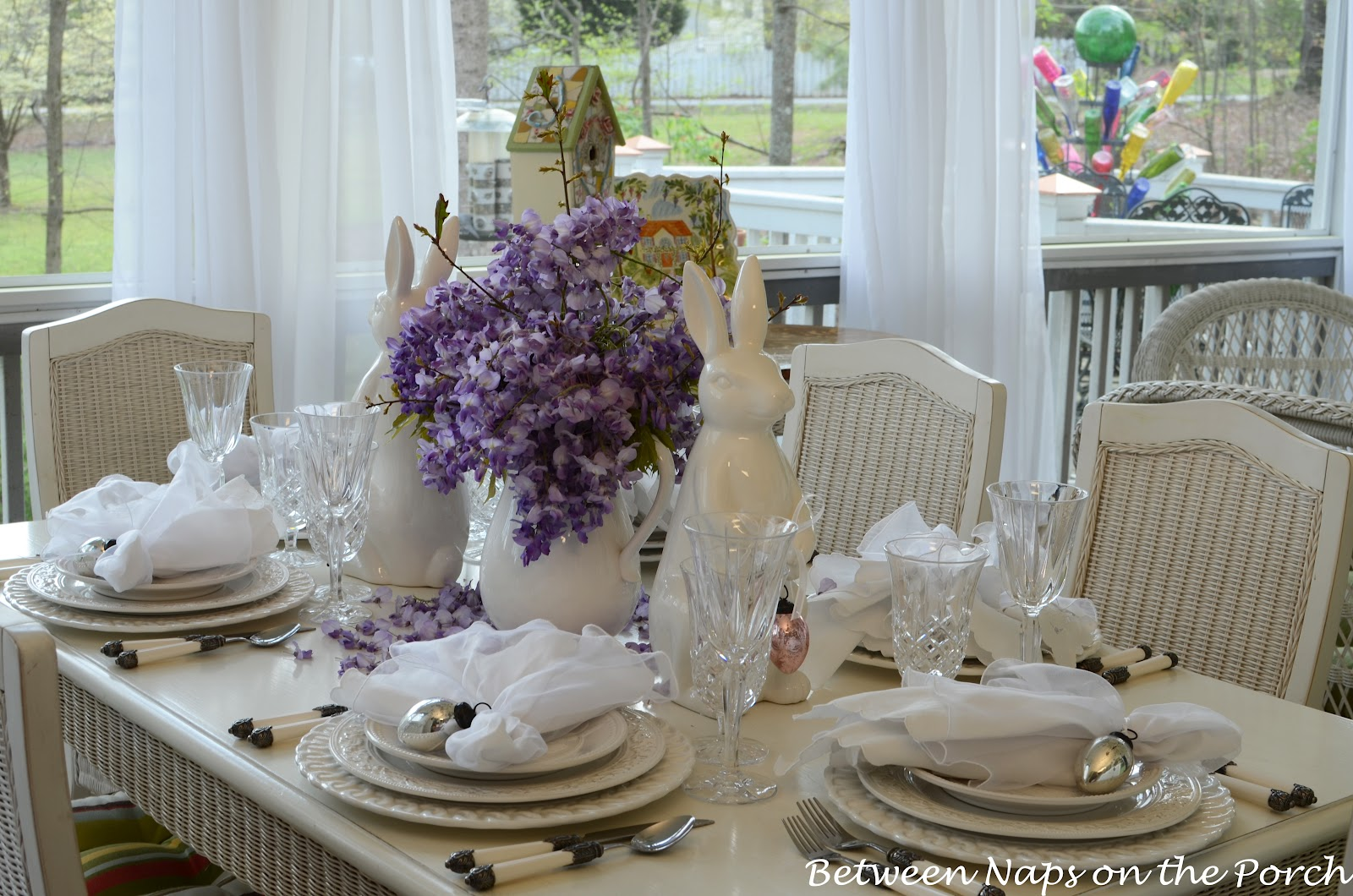 Easter tablescapes table settings with wisteria and bunny for Cheap table setting ideas