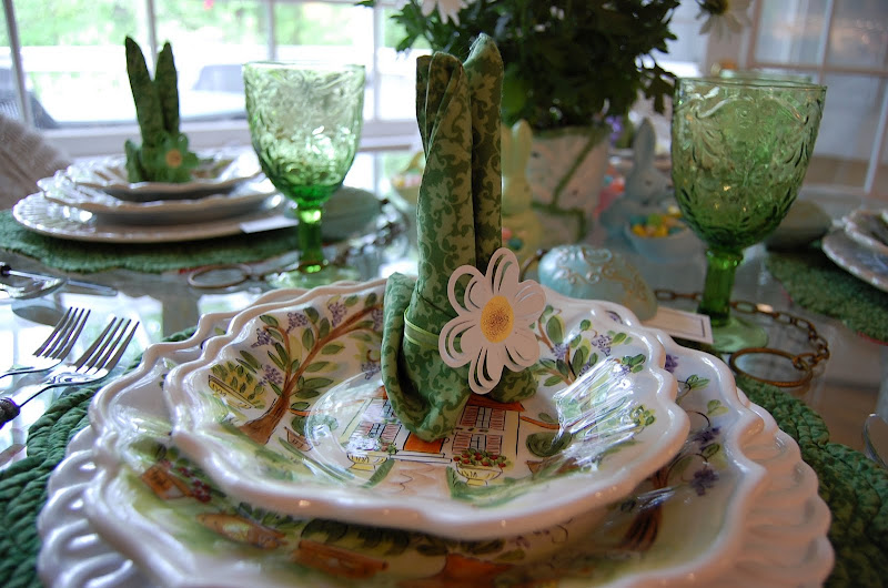 Easter Table Setting Tablescape with Floral Centerpiece & Bunny Napkin Fold