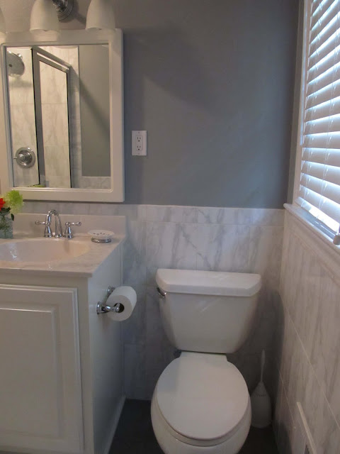 Updated Bath Renovation with Gray Walls