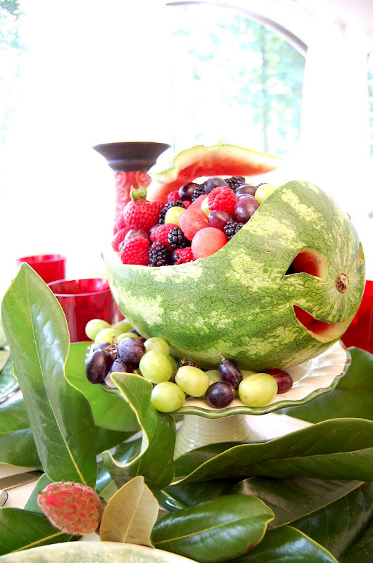 Carved Whale Watermelon Centerpiece for a Summer Table Setting