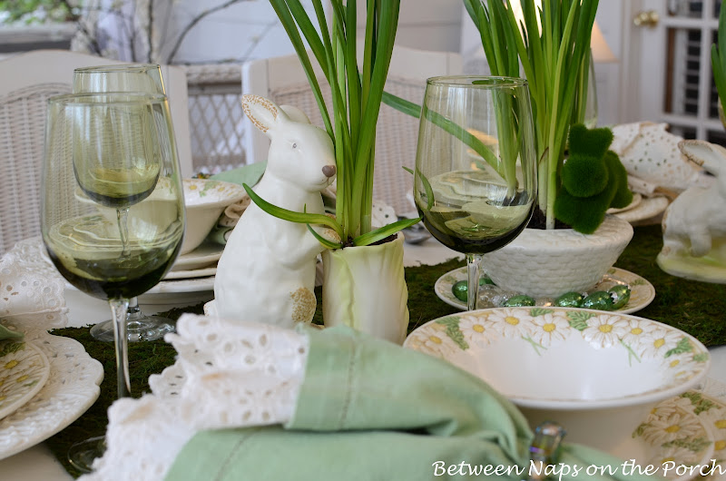 Spring Easter Table Settings with Vintage Sculptured Daisy Dinnerware