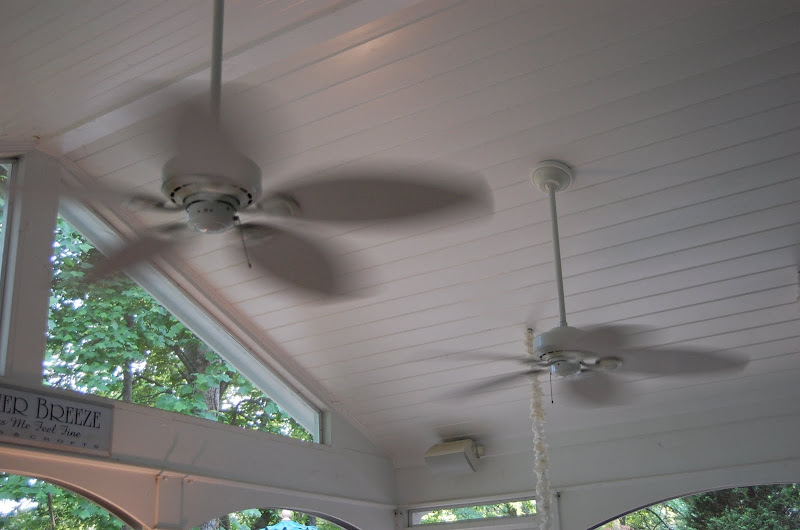 Fans whirling on porch
