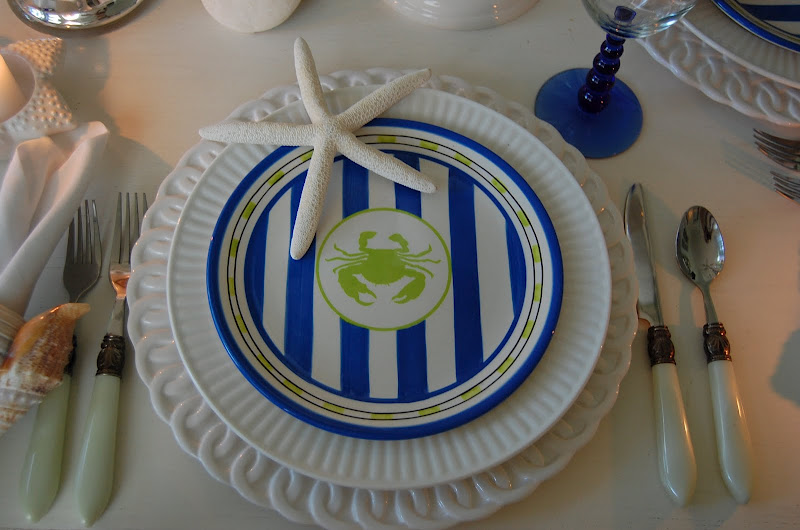 Beach Table Setting with Crab Plates