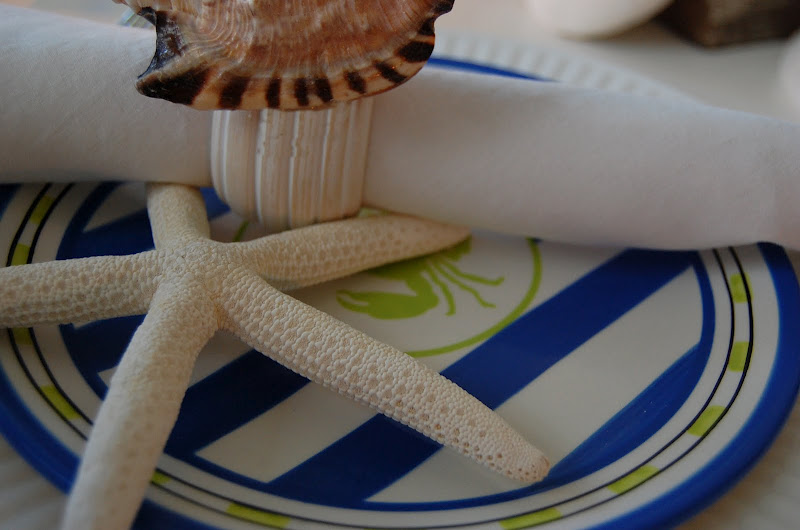 Beach Table Setting with Shell Napkin Rings
