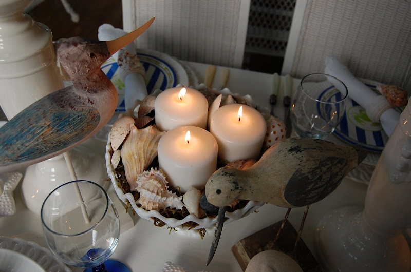 Shell Centerpiece on Beach Themed Table Setting