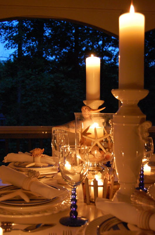 Candlelight Shell Centerpiece on Beach Themed Table Setting