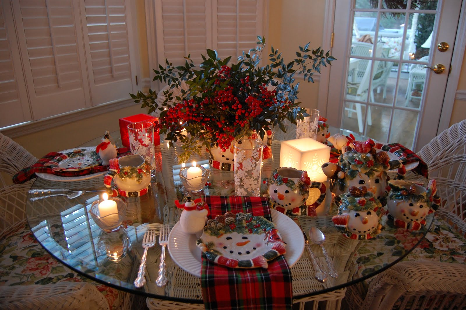 Winter Tablescape With Snowman Plates Plaid Napkins And A