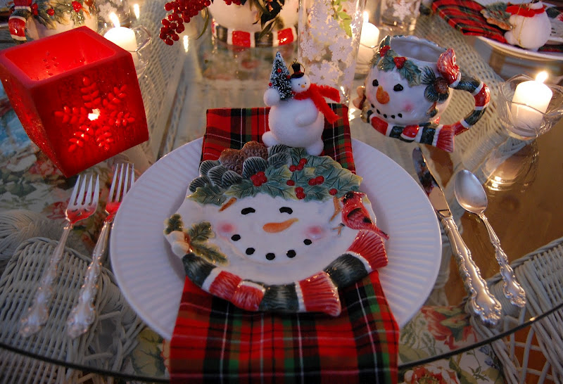 Winter Christmas Snowman Table Setting