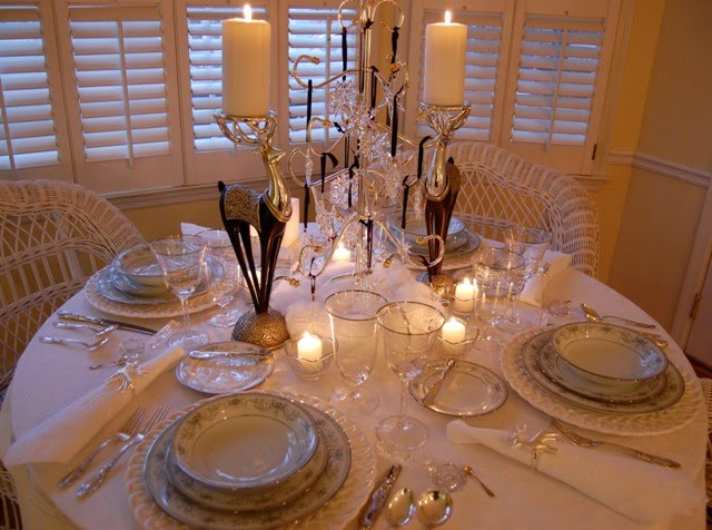 Winter Tablescape with Swarovski Crystal Ornament Centerpiece and Noritake Colburn China (Between Naps on the Porch)