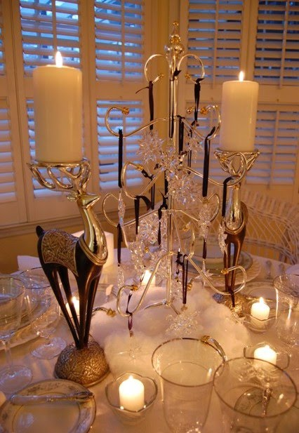 Winter Tablescape with Swarovski Crystal Ornament Centerpiece (Between Naps on the Porch)