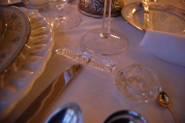 Crystal Knife Rests and Salt Cellars