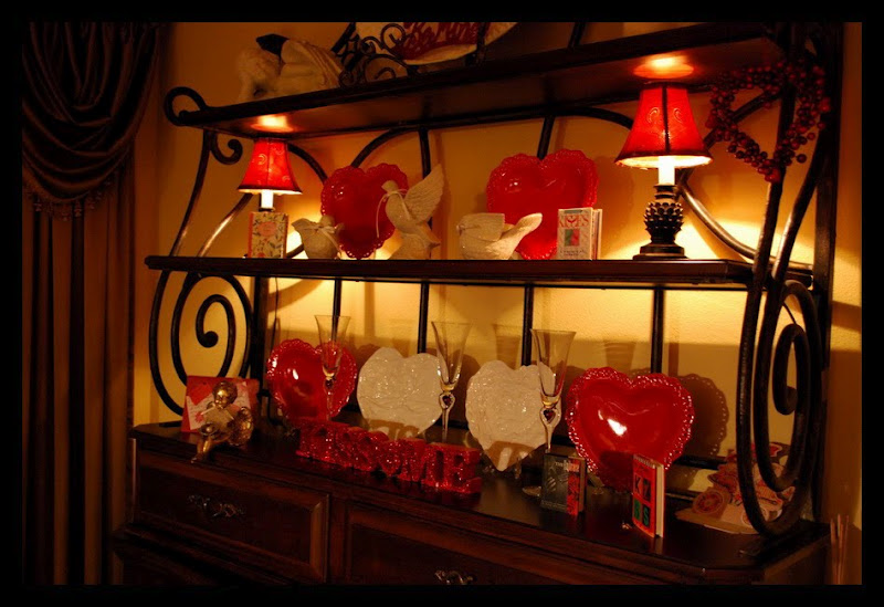 Baker's Rack Decorated for Valentine's Day