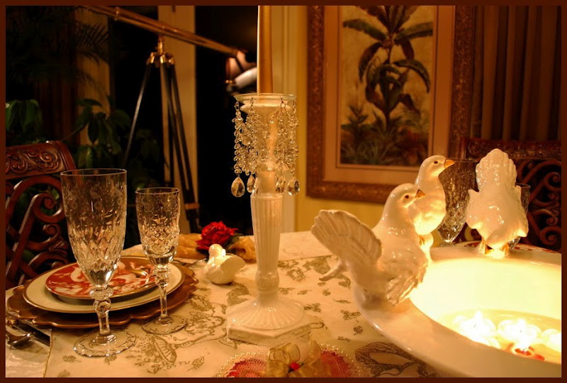 Romantic Valentine's Day Table Setting Tablescape with Dove Centerpiece