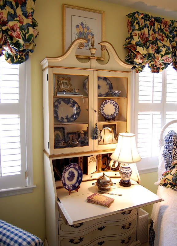 White Secretary in Blue and White Guest Room