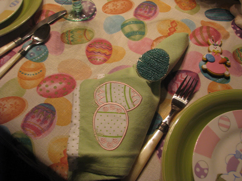 Easter Napkins in Easter Table Setting