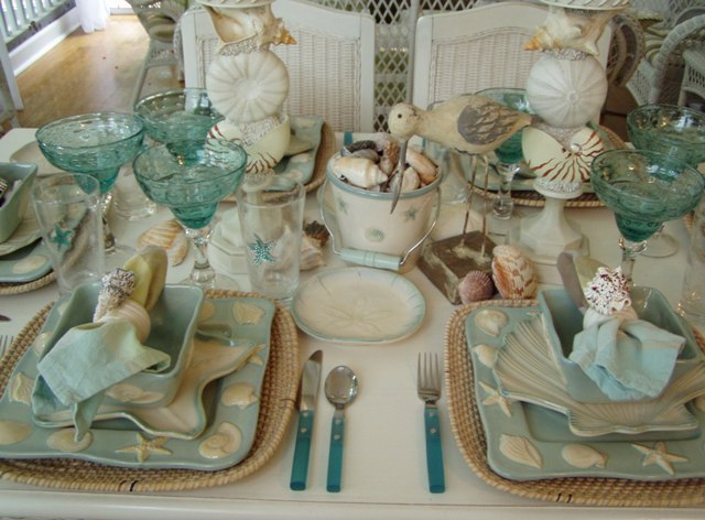 Beach Inspired Beach Themed Tablescape Setting
