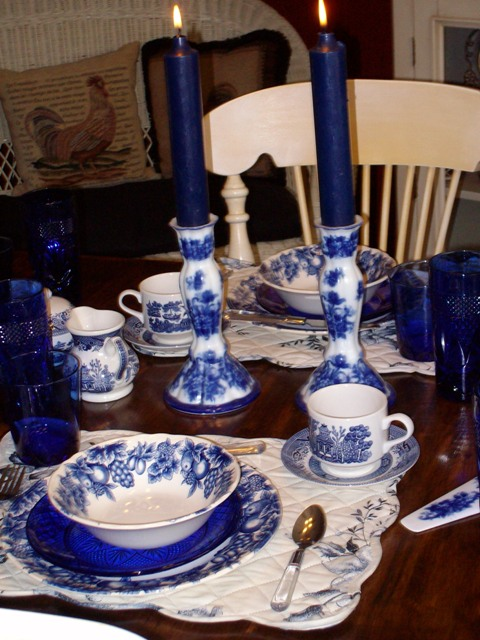 & Breakfast Table Setting with Blue Willow