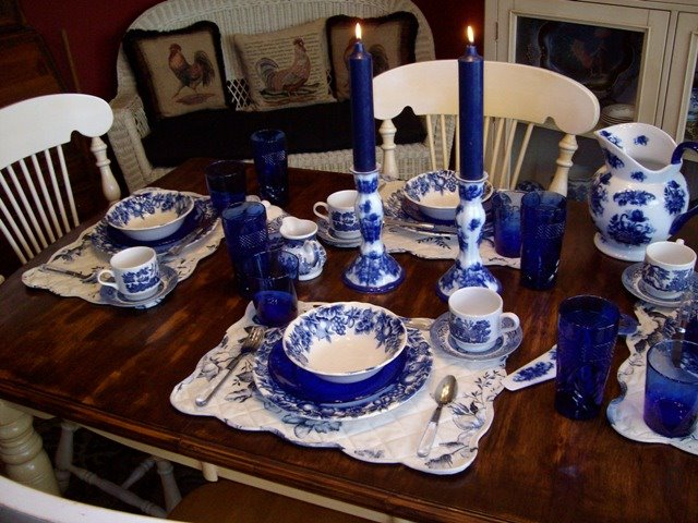 Breakfast Table Setting With Blue Willow
