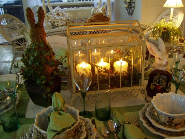 Springtime Tablescape with a Greenhouse Centerpiece
