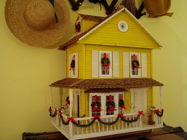 Yellow Dollhouse Decorated for Christmas