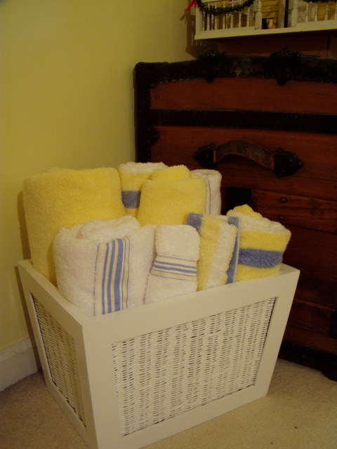 Basket for Towels in Guest Room
