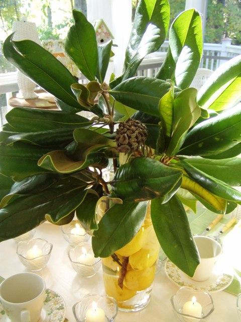 A Magnolia Amp Lemon Centerpiece