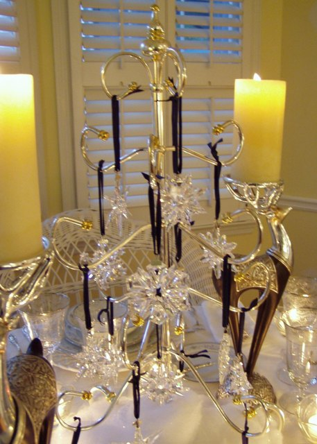 Winter Table Setting With Swarovski Ornament Centerpiece