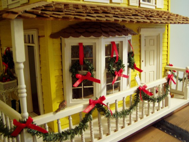 dollhouse decorated for christmas - Christmas Porch Railing Decorations